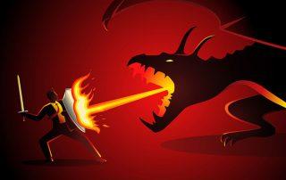 Businessman fighting Dragon